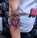 Herz mit Diamant-Muster und Rose Tattoo - by LenArt