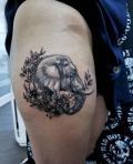Elefant FineArt Tattoo auf Oberschenkel - by LenArt