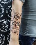 Tattoo Rose mit Uhr und Datum auf Unterarm - by LenArt